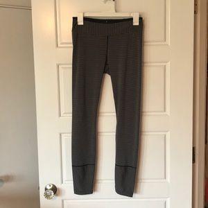 Prana Black and Grey Striped Leggings